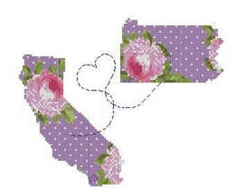 Personalized cross stitch pattern,long distance gift for mom, modern silhouette floral map cross stitch pattern PDF, California,Pennsylvania