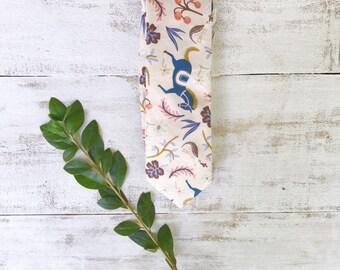 Men's Necktie- Rifle Paper Carousel- Father's Day Tie- Wedding Tie- Groomsmen Tie- Handmade Skinny Tie