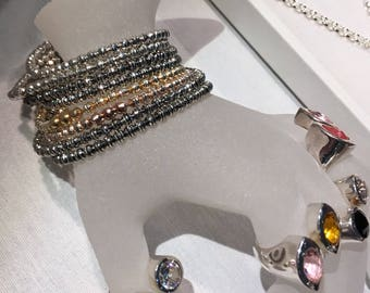 Super cute and flexible  925 sterling silver stretch bracelets in shiny silver, rosé, gold and rhodium plated