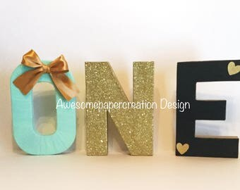 One,paper mache letters,8inches,mint and gold party decorations,first birthday girl,cake smash photo props,first birthday party decorations