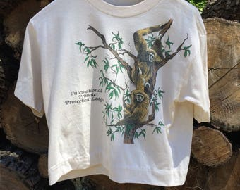 Vintage 1985 Internatinal Primate Protection League Crop Top Shirt Sz M USED