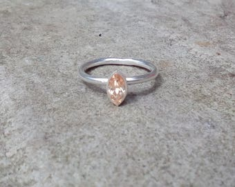 Marquise Champagne Topaz sterling silver ring