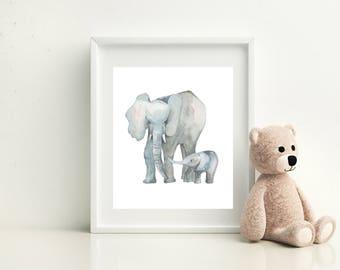Framed Elephant  Watercolour Print