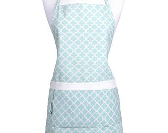 Womens Kitchen Apron  Teal Geometric Modern Canvas with Pockets Adjustable Neck Ties