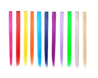 Bundle 11 pieces of 22 Inches Multi-Colors Party Highlights Clip In Synthetic Hair Extensions Cosplay