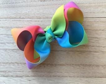 Rainbow Boutique hair bow, big hair bows, colorful hair bows, large hair bows, XL hair bows, easter hair bows, boutique bows, jo jo bows