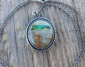 Royston Ribbon Necklace, Turquoise Pendant, Boho, Rustic