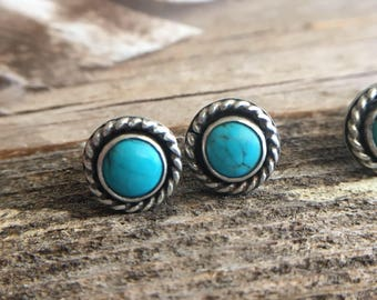 Handmade Turquoise Stud Earrings