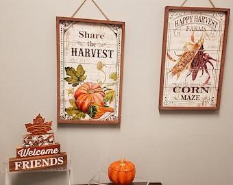 """Fall Thanksgiving  wooden frame sign wall art decor, pumpkin & corn design 18.5"""""""