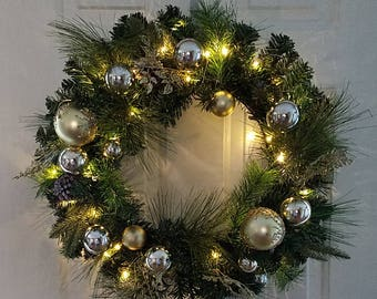 """ESE Christmas pre-lit led Wreath 24"""", Garland 72"""" , Decorated with pine cone, glitter Gold & Silver Ornaments Ball"""