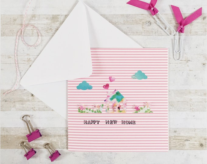 New home card, floral house with flowers and cloud design on pinck and white striped background