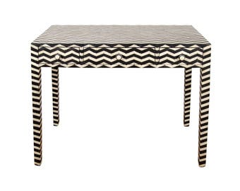 zig -zag pattern bone inlay console table