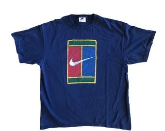90s Nike Tennis Challenge Supreme Court Patch Graphic T-Shirt L