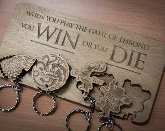 "Game of Thrones Inspired ""When you play the Game"" Lasercut & Engraved keyring and wall mount"