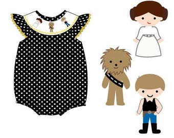 PREORDER Star Wars Smock Ruffle Bubble, dashingvacations, toddler, Han Solo, baby bubble, vacations
