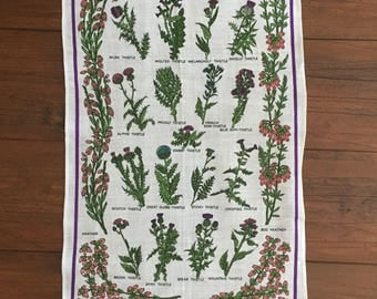 Vintage Linen tea towel - Thistles by Linanne