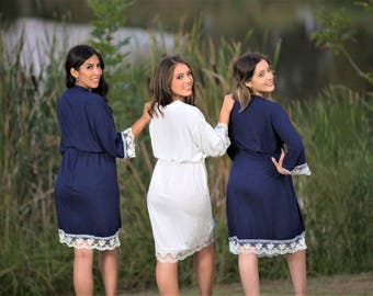 ADULT AND  KIDS! Customization Available. Bridesmaid Cotton Lace Robes! Perfect for your Bridal Party, bride Lace Robes, Getting Ready Robes