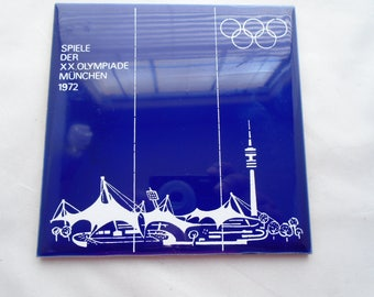 Spiele Der XX Olympiade Munchen 1972 Cobalt Blue Germany Olympic Games Tile RARE
