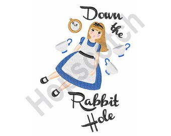Alice In Wonderland - Machine Embroidery Design, Down The Rabbit Hole
