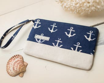 Small Katrina Pouch, Navy Anchors and Natural