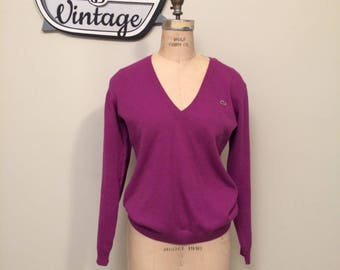 Lacoste Magenta Vintage Sweater with Long Sleeve with Green Crocodile Logo | Slouchy Style for Small or Fitted for Medium | Made in France