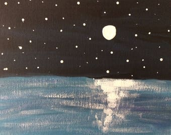 Full Moon Over Lake 8 x 10 Acrylic Painting