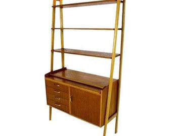 Vintage Danish Mid-Century Modern Teak & Oak Bookshelf
