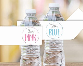 Team Pink Team Blue Printable Water Bottle Labels || Printable Gender Reveal Party Decoration || Gender Reveal Party Ideas (DIGITAL PRODUCT)