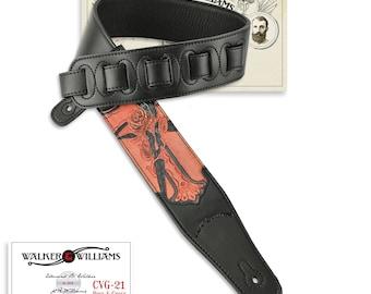 Black Leather Guitar Strap Hand Tooled Rose & Cross Design CVG-21