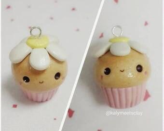 Daisy Polymer Clay Cupcake Charm