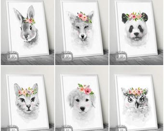 Nursery Posters, Animals, Pastel, Flowers Set of 3 Posters A4/A3 GIRLS