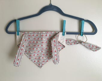 Dog/Baby Bandana with Matching Hair Tie - Red/Blue/Gold Floral