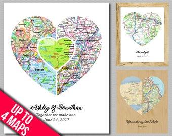 Anniversary Art Wedding Gift Print Engagement Art Unique Bridal Shower Favors 5 Year Anniversary Gift Custom Heart Anniversary Wall Art Gift