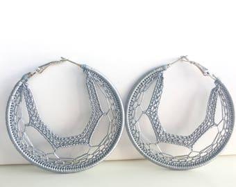 """Crochet hoops 2  1/4"""" in silver"""