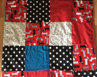 Large baby blanket patchwork quilt blanket blue black red Dachshund minky blue sausage dog
