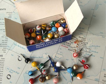 Vintage Moore Map Tacks Assorted Patterns and Colors in Box Moore Push Pin Co (48 tacks)