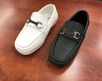 Toddler to Youth Boys Classic Black White Blue Vegan Faux Leather Loafer Shoes, Wedding Ring Bearer, Confirmation, Christianing, Baptism