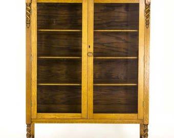 Antique Display Cabinet | Vintage China Cabinet | Oak Display Cabinet | Barley Twist | Canada, 1920 | B735