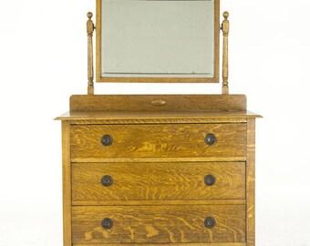 Mirrored Vanity   Antique Tiger Oak   Beveled Mirror   Scotland, 1930   B847