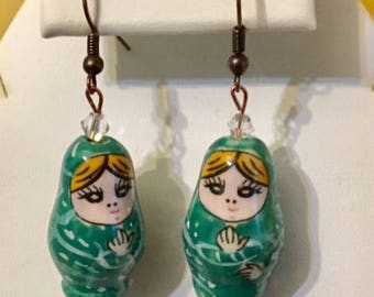 Painted Porcelain Matryoshka Russian Small Nesting Doll Earrings(Green)
