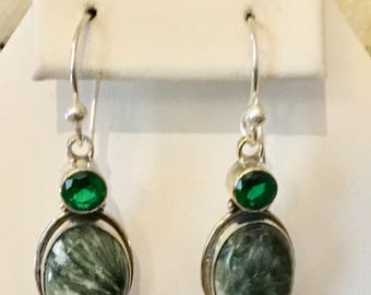 Sterling Silver Russian Seraphinite Earrings