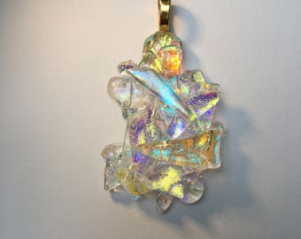 Abstract Dichroic Glass  Pendant with Black Silicone Cord
