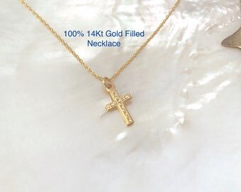 Etched Gold Cross Necklace, 14Kt Gold Filled, Dainty, Simple, Tiny, Small, Fancy, Gold Filled, Baptism Gift, Confirmation, First Communion,