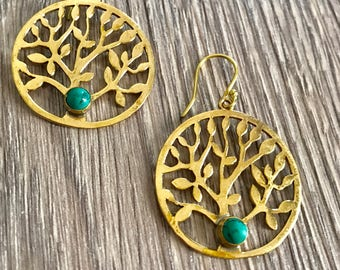 gold brass earrings, turquoise earrings, tribal earrings, boho earrings, Gypsy earrings, Ethnic Jewelry,Indian Jewelry, gift for her