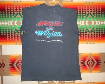 Willie Nelson And Waylon Jennings T Shirt Size Medium Country Western