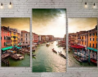 Art Print on Canvas, Large Wall Art , Venice , River, Canoe, Canvas Art, Interior Art, Living Room Decor, Extra Large Art