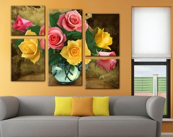 Roses wall Art, Art Print on Canvas,Extra Large Wall Art , Canvas Art, Home Art, Living Room Flower Picture, 5 piece wall art