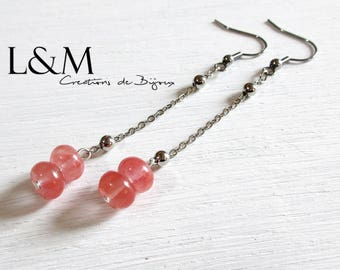 Strawberry Quartz beads silver plated earrings