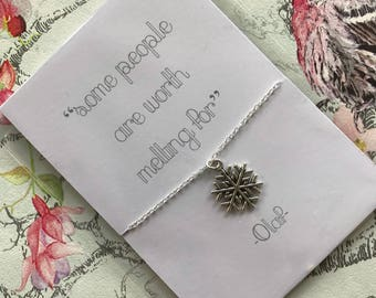 """Olaf from Frozen inspired """"some people are worth melting for"""" charm necklace with backing card, hand made gift"""