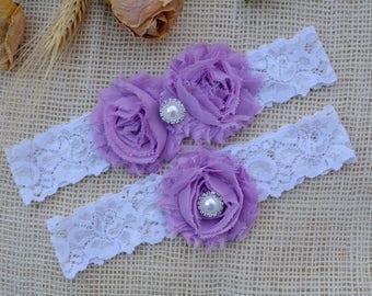 Violet Garter, White Garter Set, Purple Garter, Bridal Clothing, Garter For Wedding, Brides Garters, Purple Garter Set, Purple Garter Set